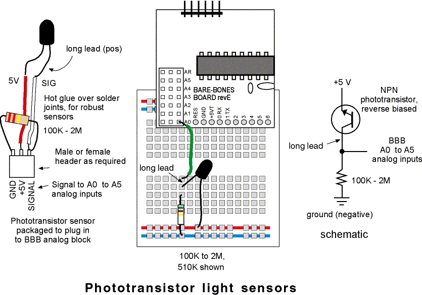 phototransistor light sensors
