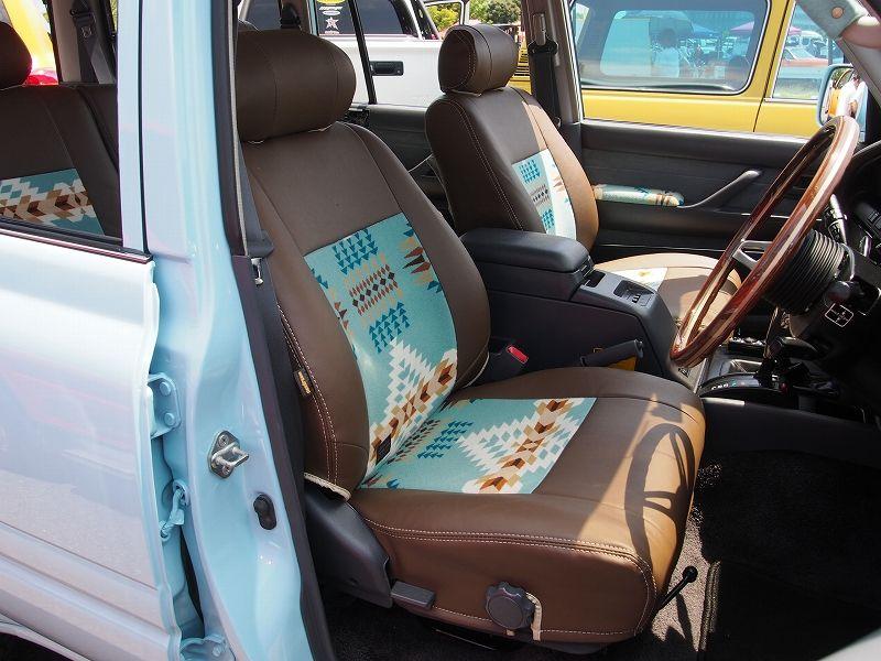 ランクル80ペンドルトンコラボシートカバー(ランチョアロヨ)運転席 :ムーンアイズストリートカーナショナルズ出展車両 Toyota landcruiser80 x Pendleton mooneys street car nationals