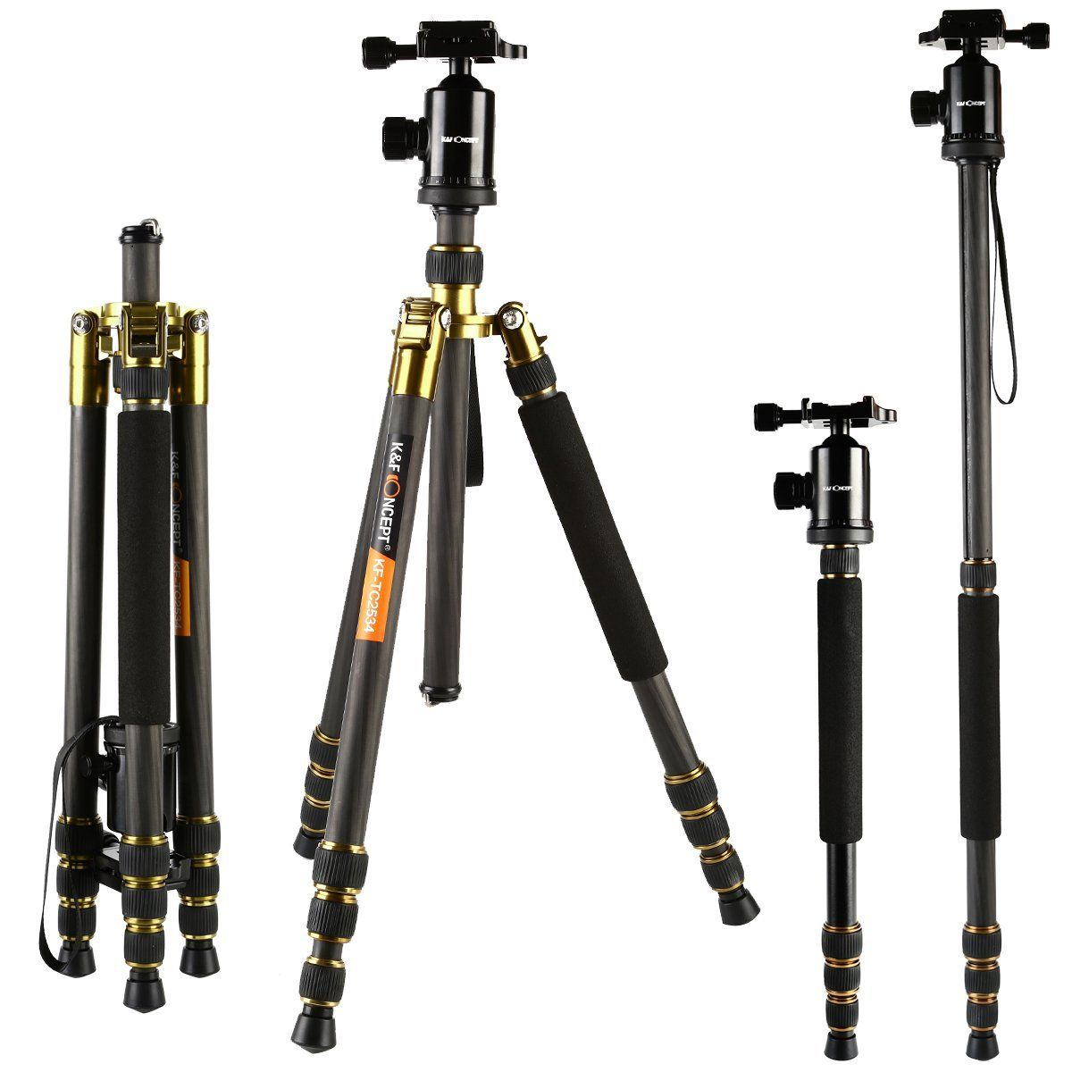 "Tripods Carbon Fiber, K&F Concept TC2534 Lightweight Portable Camera Tripod Monopod kit 66""/168cm Professional Travel Tripod for DSLR Cameras Canon Nikon Simga Tamron Sony ""New Year New You Deals"""