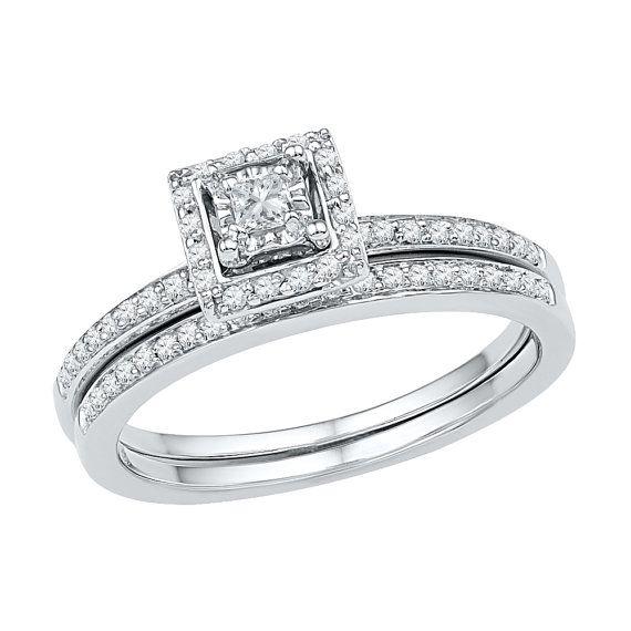 10k White Gold Halo Engagement Ring With Matching Wedding Band Set 1 4 Ct