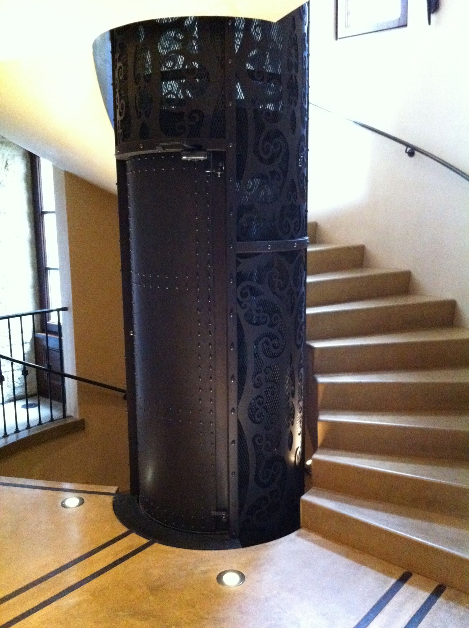 Vision 450 Residential Elevator Custom Home Elevator By Nationwide Lifts Fits Perfectly Inside A Spiral Stai House Elevation Elevation House Stairs