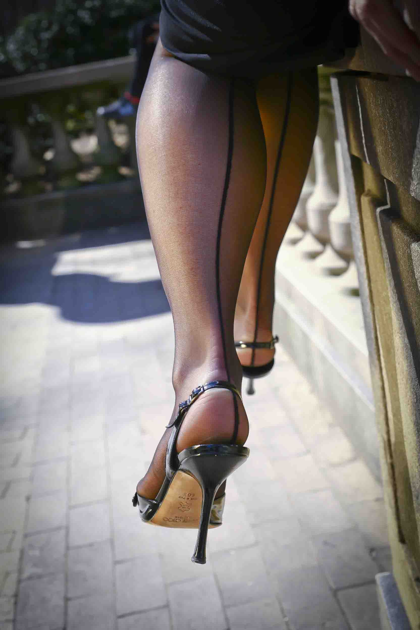 Shaved hose stiletto heels