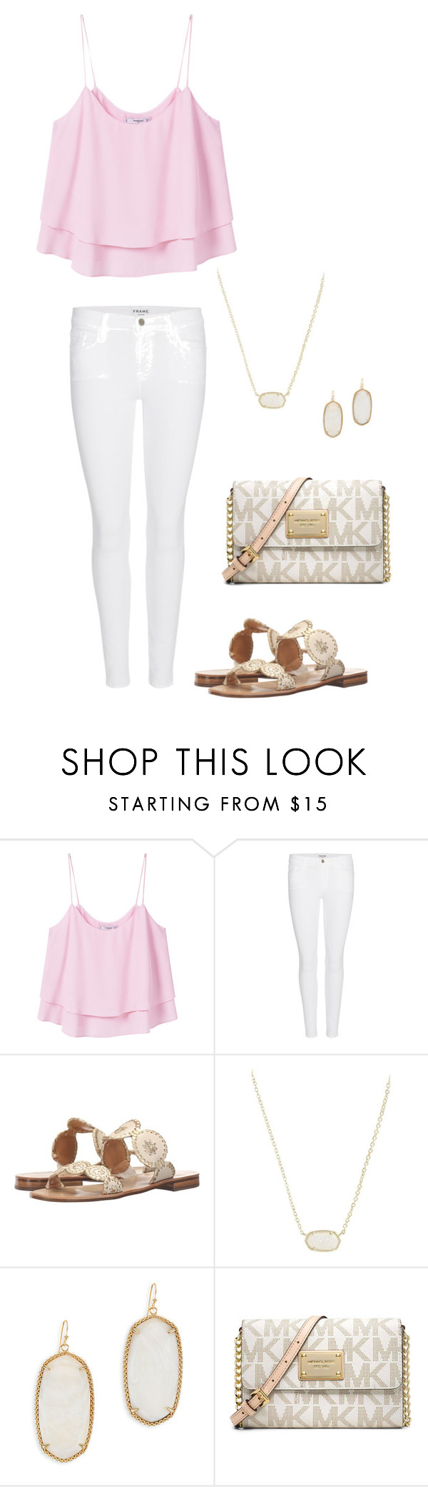 """""""Pink&Gold are perfect!"""" by laurenz04 on Polyvore featuring MANGO, Frame Denim, Jack Rogers, Kendra Scott and Michael Kors"""