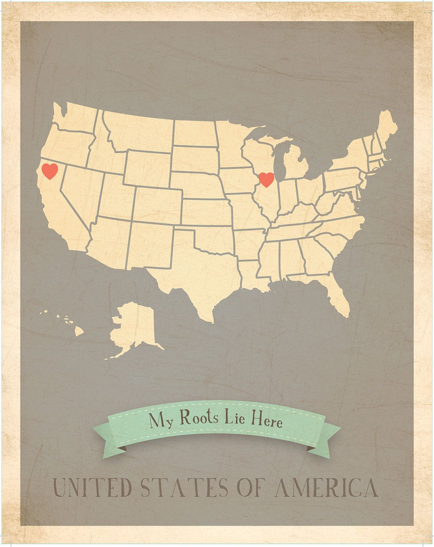 North Carolina Roots Map 11x14 Customized Print. $40.00, via Etsy. I ...