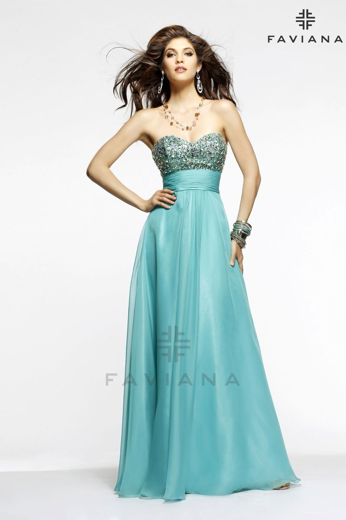 Faviana Chiffon skirt with strapless, beaded top, corset back sold ...