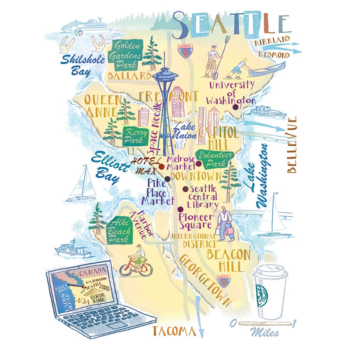 Seattle map by Robert Littleford Seattle map, Washington