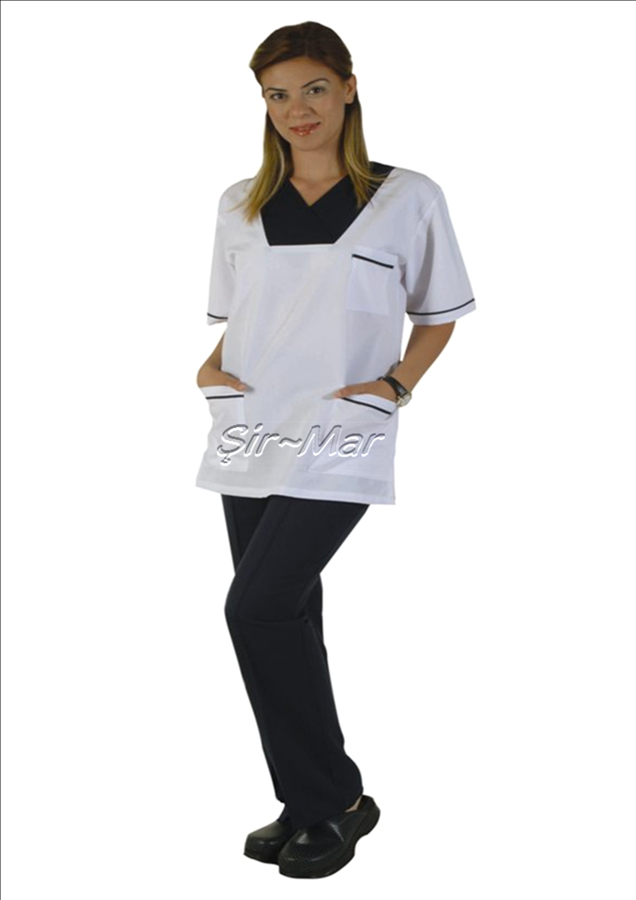 HNU-12 HEAD NURSE UNIFORM • Top & Pant • Alpaca fabric, %65/35 poly/viscose • Fashioned collar • One chest and two patch pockets • Short or long sleeve options • Closed front • Wrinkle resistant • No yellowing • Color: White on Dark blue • Optional pastel colors • Sizes(US): XS – S -M - L - XL -2XL -3XL • Sizes(EU): 36 -38 -40 -42 -44 -46 -48