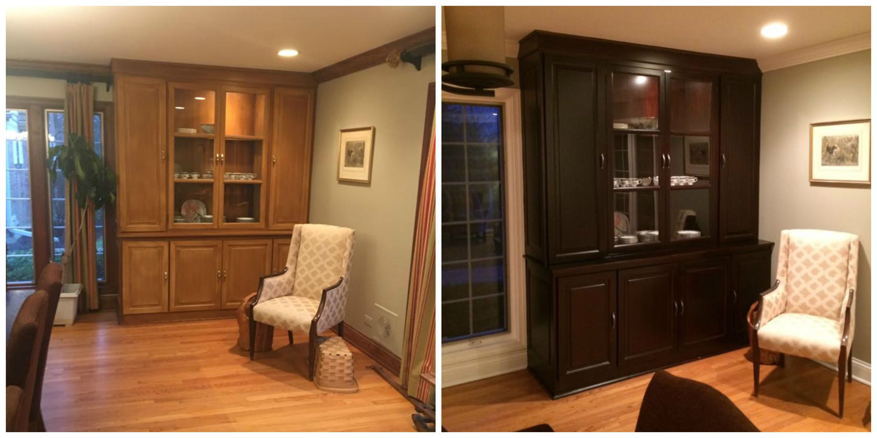 Custom Staining of a built in China Cabinet. Rich Espresso ...