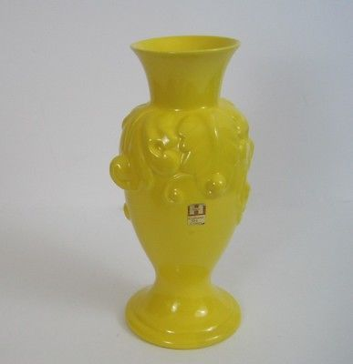 Vtg Royal Haeger Vase Bright Yellow Urn Acanthus Style 4149 1970s 12 in Tall