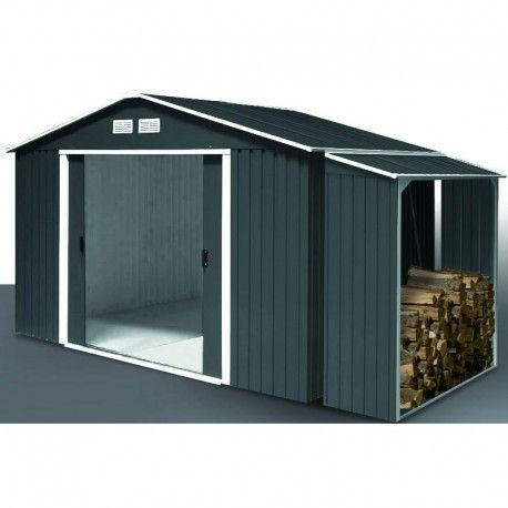 Abri en métal anthracite Colussus 7,76m² + abri buches Woodstore