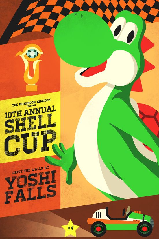 Mario Kart - Yoshi Art Print | wall decor | Pinterest | Mario kart ...