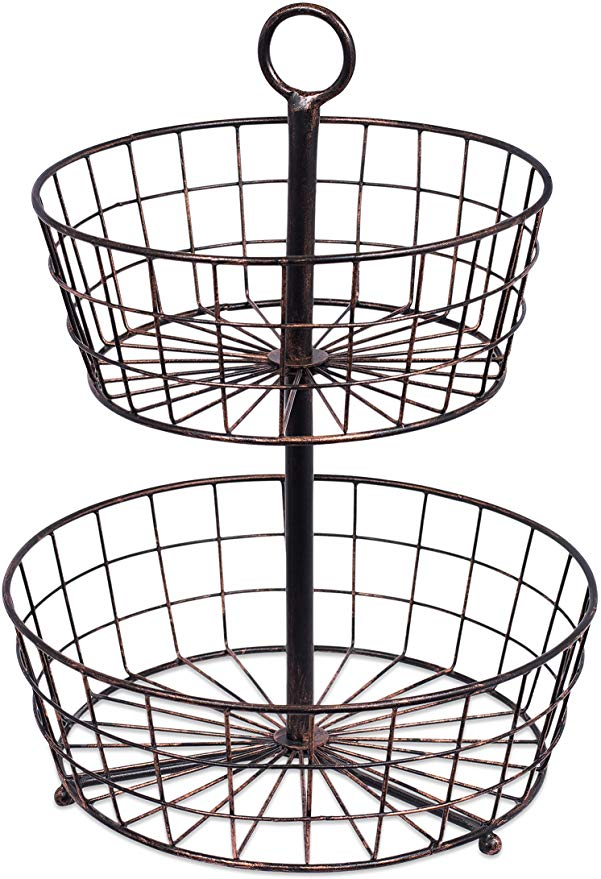 Amazon Com Birdrock Home 2 Tier Wire Fruit Basket Round Metal Standing Baskets Fruit Vegetable Garlic Caddy Freestanding Rustic Decorative Basket Kitche In 2020