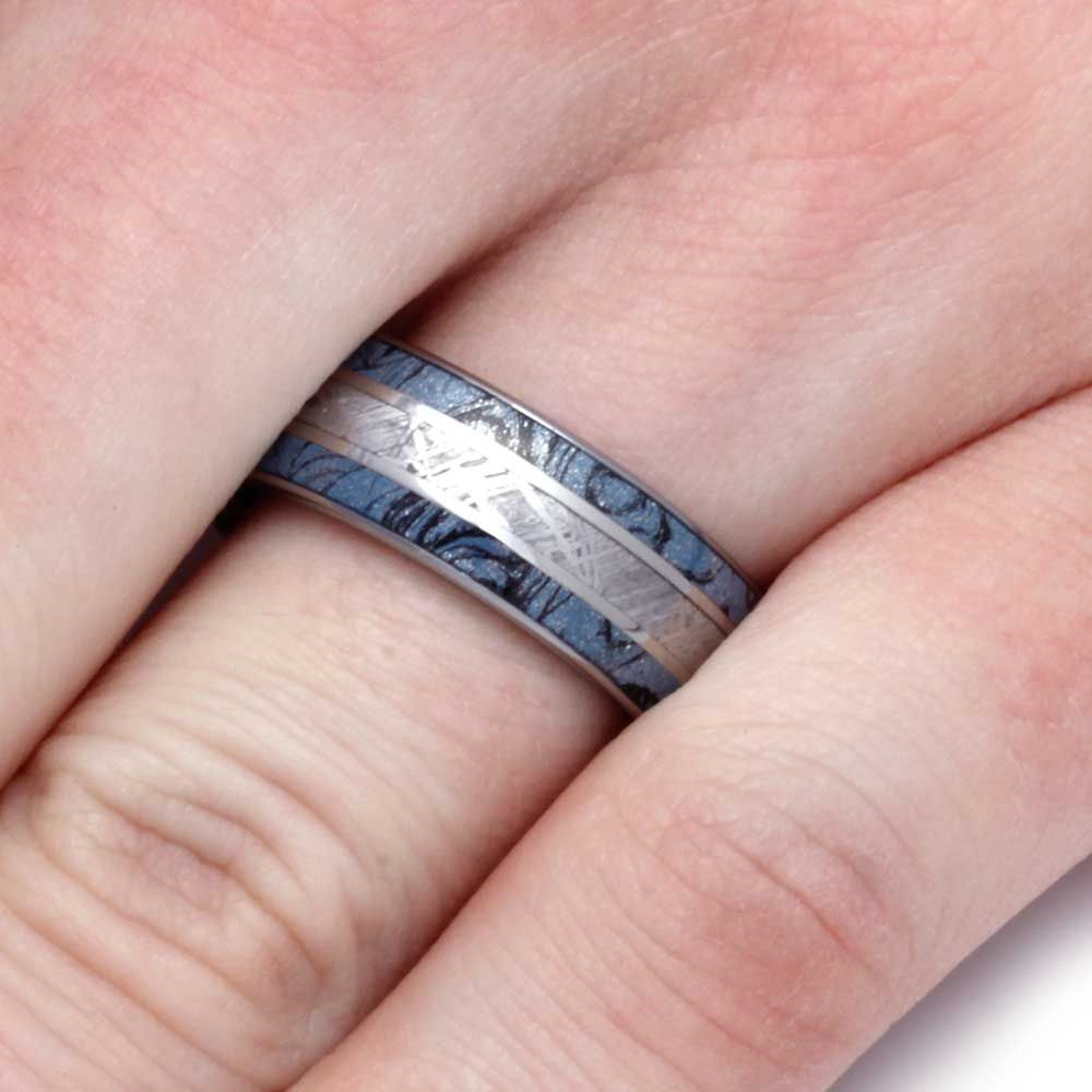 Tungsten Ring With Cobaltium Composite Mokume And Meteorite Inlays ...