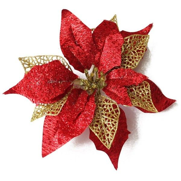 Amazon Com Ornerx 10 Glitter Poinsettia Flower Christmas Tree 16 Liked On Polyvore Featuring Home Home Decor Holiday De Flores De Juta Natal Flores