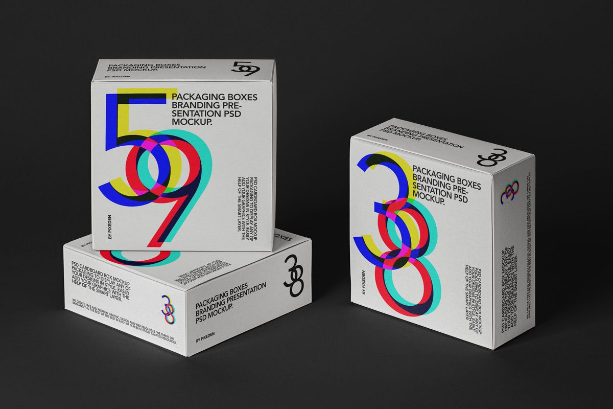 Download Psd Square Boxes Packaging Mockup 3 Packaging Mockup Box Packaging Box Mockup