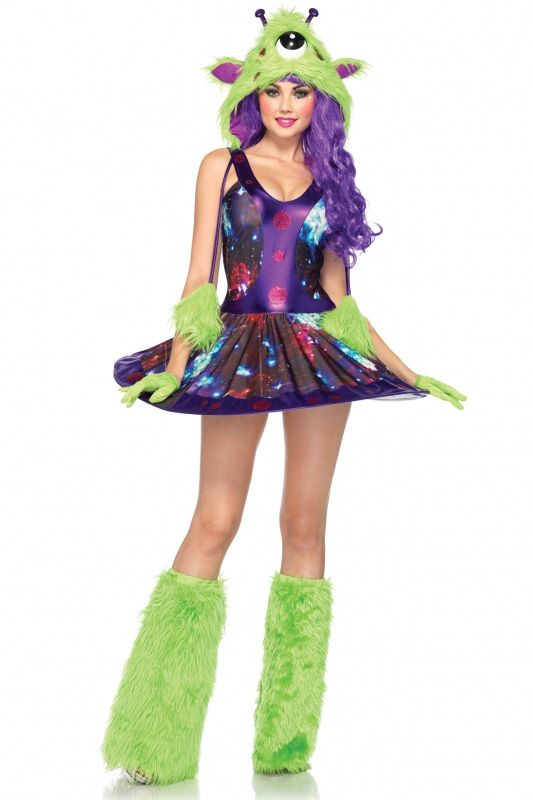 3 PC. Miss Martian, includes galaxy print dress with UFO wired skirt, furry martian hood, and matching hand covers.