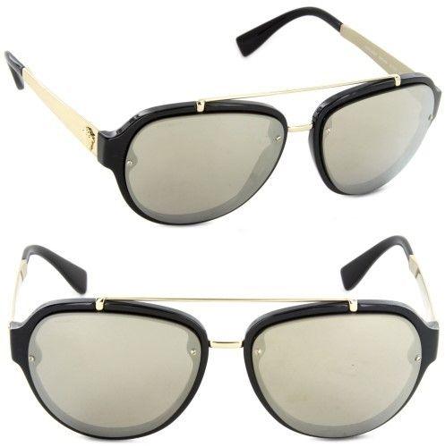 640b54ae4247 Versace VE4327-GB1 5A-57 Pilot Sunglasses Black Light Brown Mirror Gold Lens