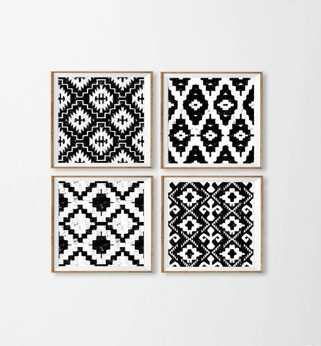 Ikat Art Prints , Black And White Wall Art , Tribal Diamond Nursery Art ,  Aztec