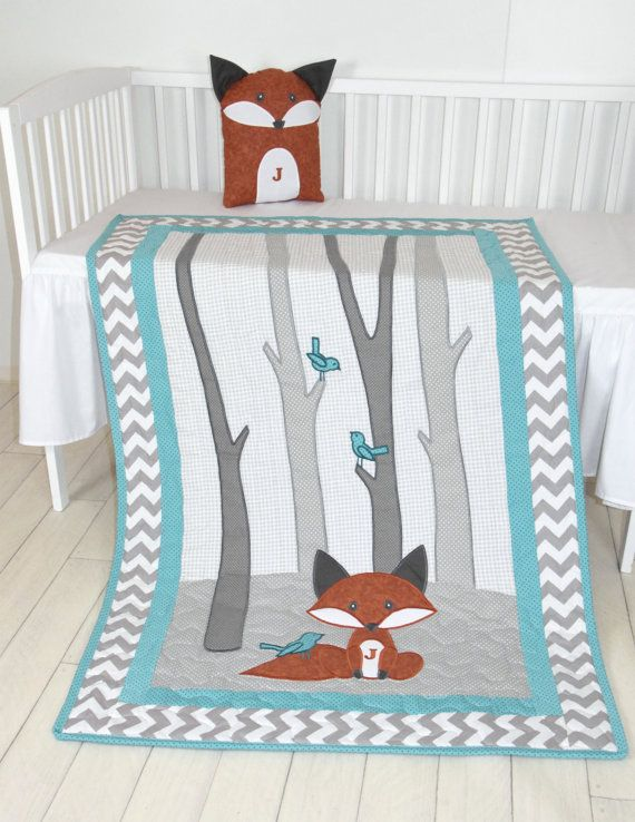 Fox Blanket, Teal Chevron Gray Nursery, Baby Boy Quilt, Woodland ...