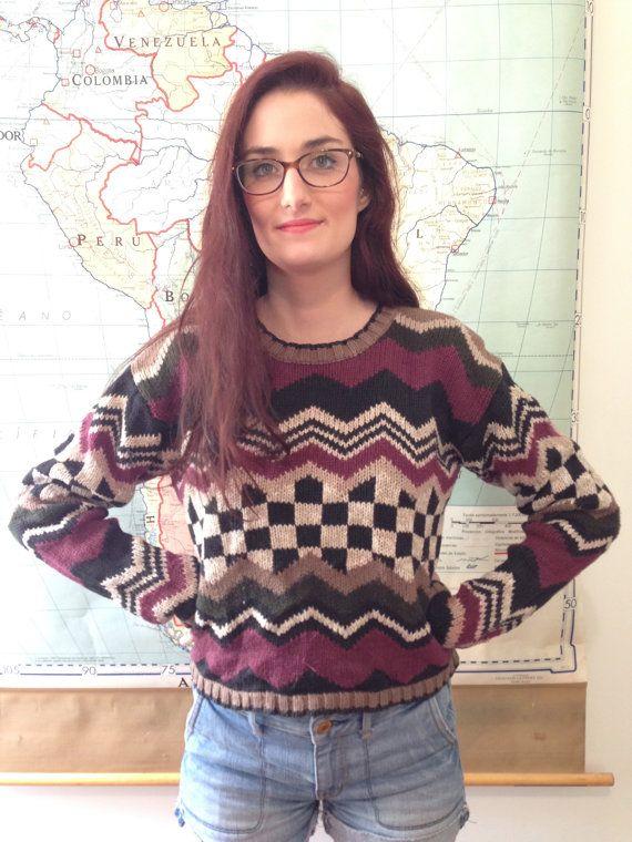 Zig Zag Chevron Checkered Purple & Green Cropped Sweater