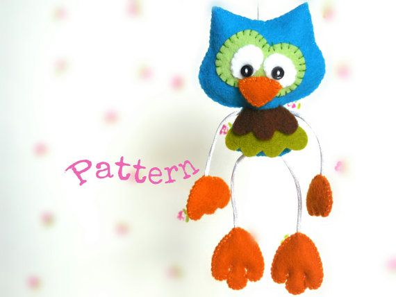 Skinny Owl-PDF sewing pattern-Cute owl toy-DIY-Felt owl