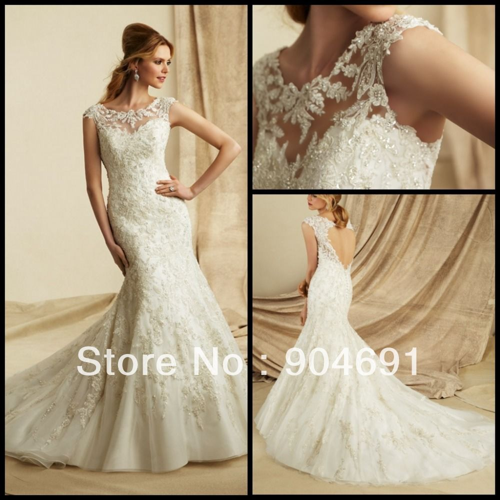 Find More Wedding Dresses Information About Luxury Lace Dress Boat Neck Bridal Gown Mermaid