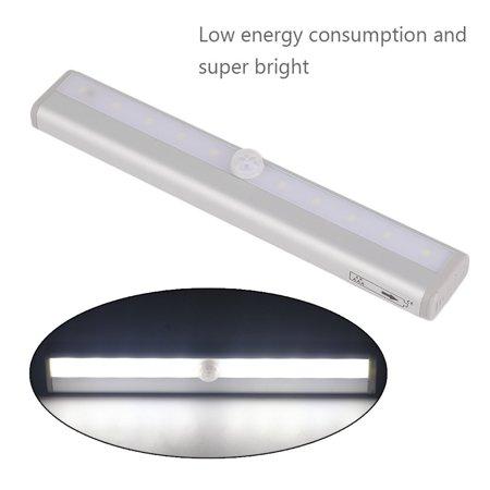 3pcs 10 Led Motion Sensor Night Light Cabinet Closet Lamp Magnetic Bar Light Silver Sensor Night Lights Bar Lighting Night Light