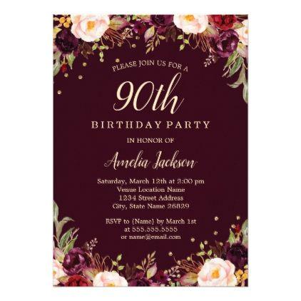 Gold Burgundy Floral Elegant 90th Birthday Party Invitation