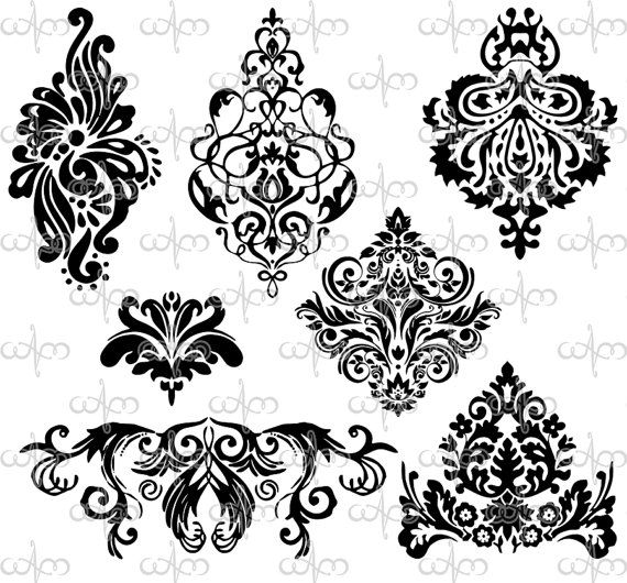 damask clip art 3 graphic design pattern for your art projects for gabrielle pinterest. Black Bedroom Furniture Sets. Home Design Ideas