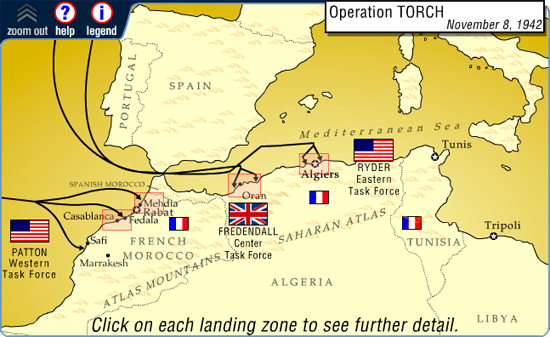 Interactive Map. Operation TORCH, November 8, 1942. | French ...