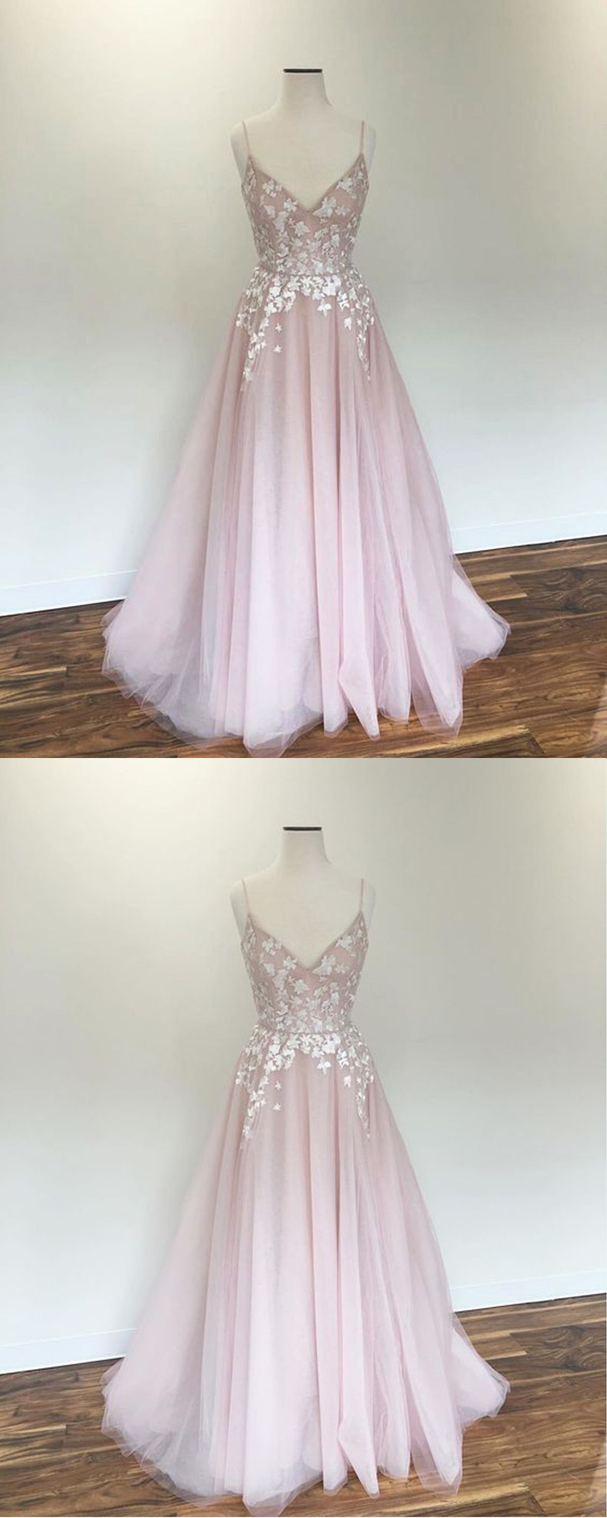 Blush pink tulle v neck spaghetti straps long prom dress with