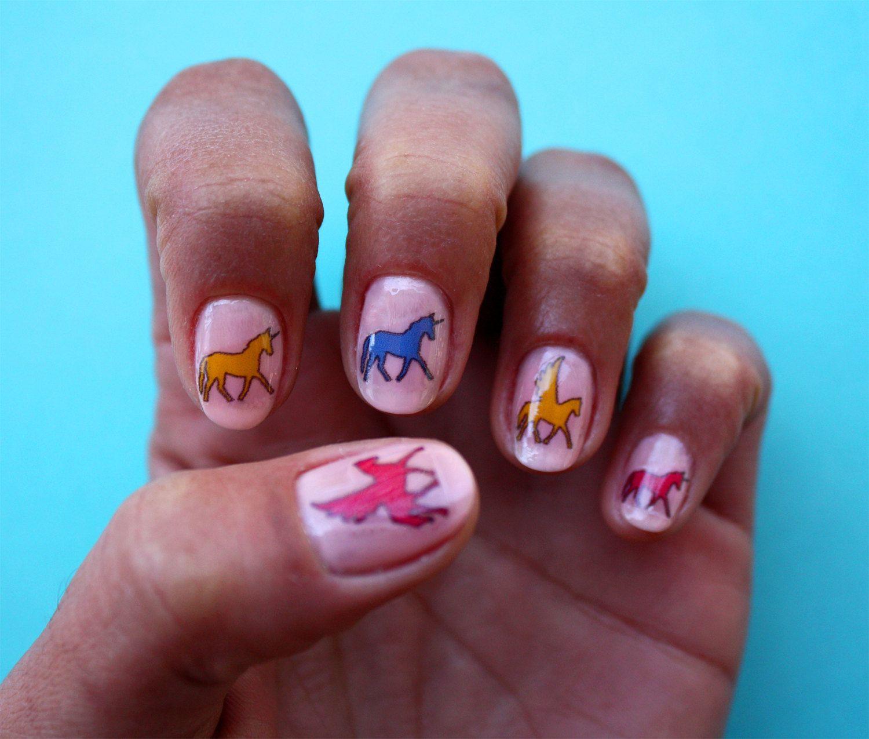 Unicorn/Pegasus Nail Art - Nail Decals. $5.00, via Etsy.   Nails ...