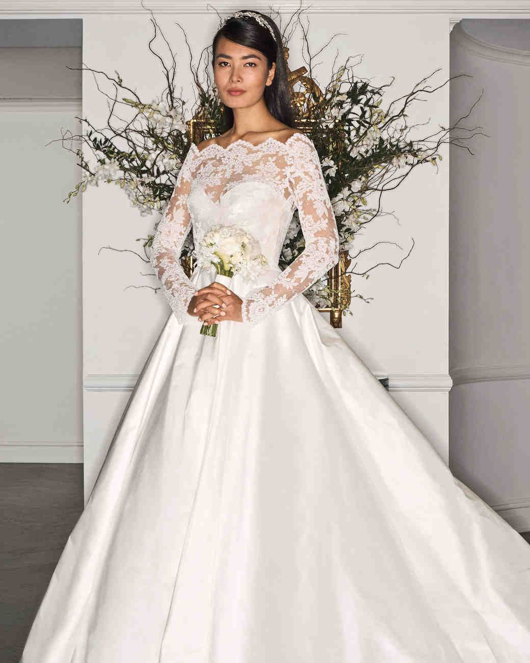 Off the shoulder wedding dress of rouched silk satin chiffon bodice ...