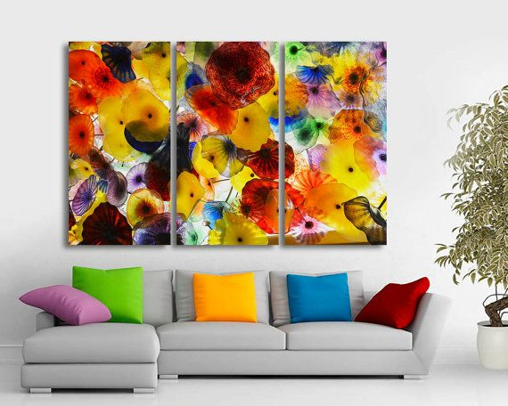 3 panel split triptych large canvas print colorful abstract art bright colors for home or office decor interior design