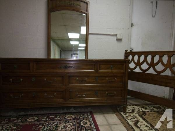 Queen Full Bedroom Set 3 Pc Wood Dresser Mirror Headboard 125