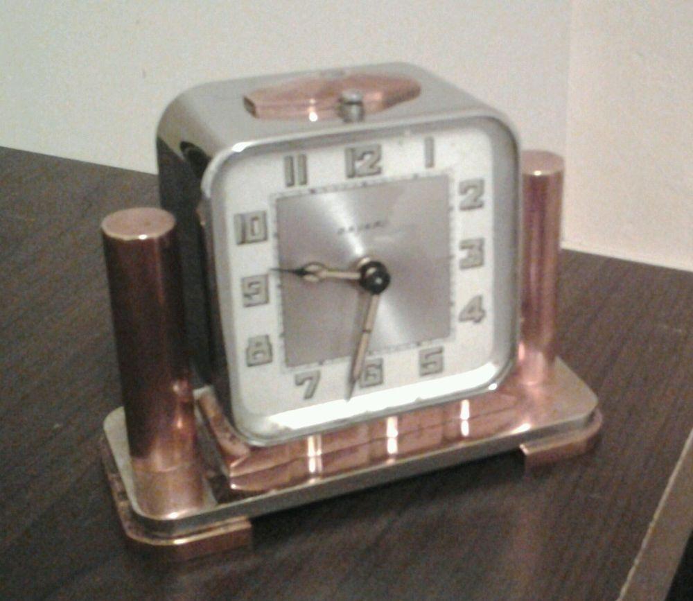 1527e4c5167 Art deco bayard clock -architectural modernist chrome   copper
