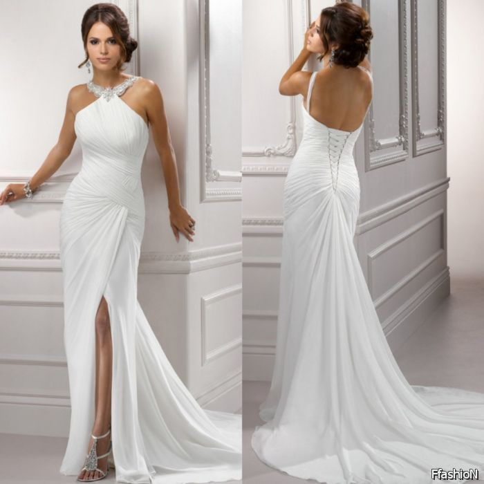 White Chiffon Front Silt Casual Style Backless Halter Top: Simple Beach Wedding Dresses 2016-2017