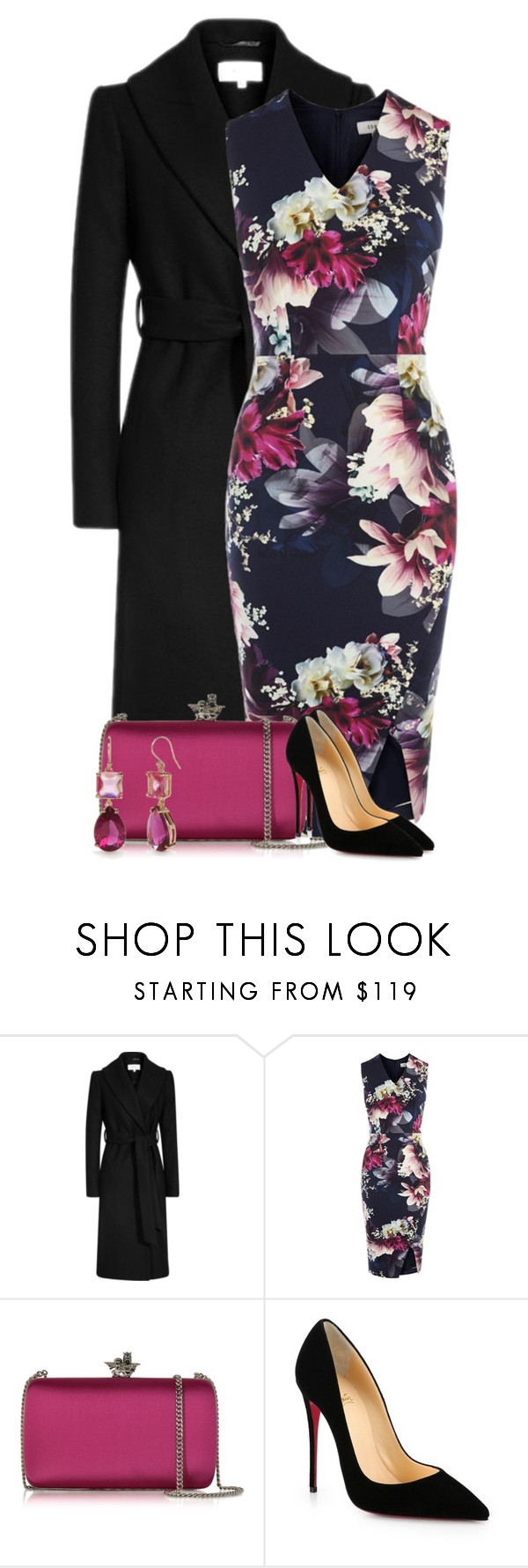 """Dark Florals"" by cassandra-cafone-wright ❤ liked on Polyvore featuring Coast, Roberto Cavalli, Christian Louboutin and Kate Spade"