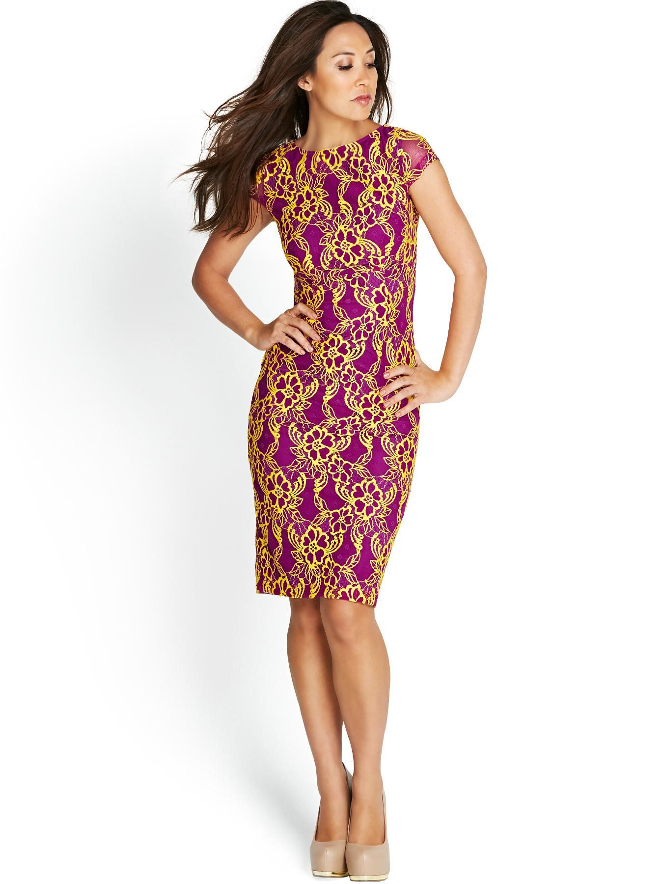 Myleene Kl Bright Lace Pencil Dress Purple Yellow Bodycon
