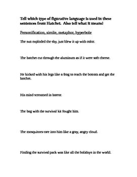 image about Hatchet Worksheets Printable referred to as Figurative Language inside Hatchet Hatchet Figurative