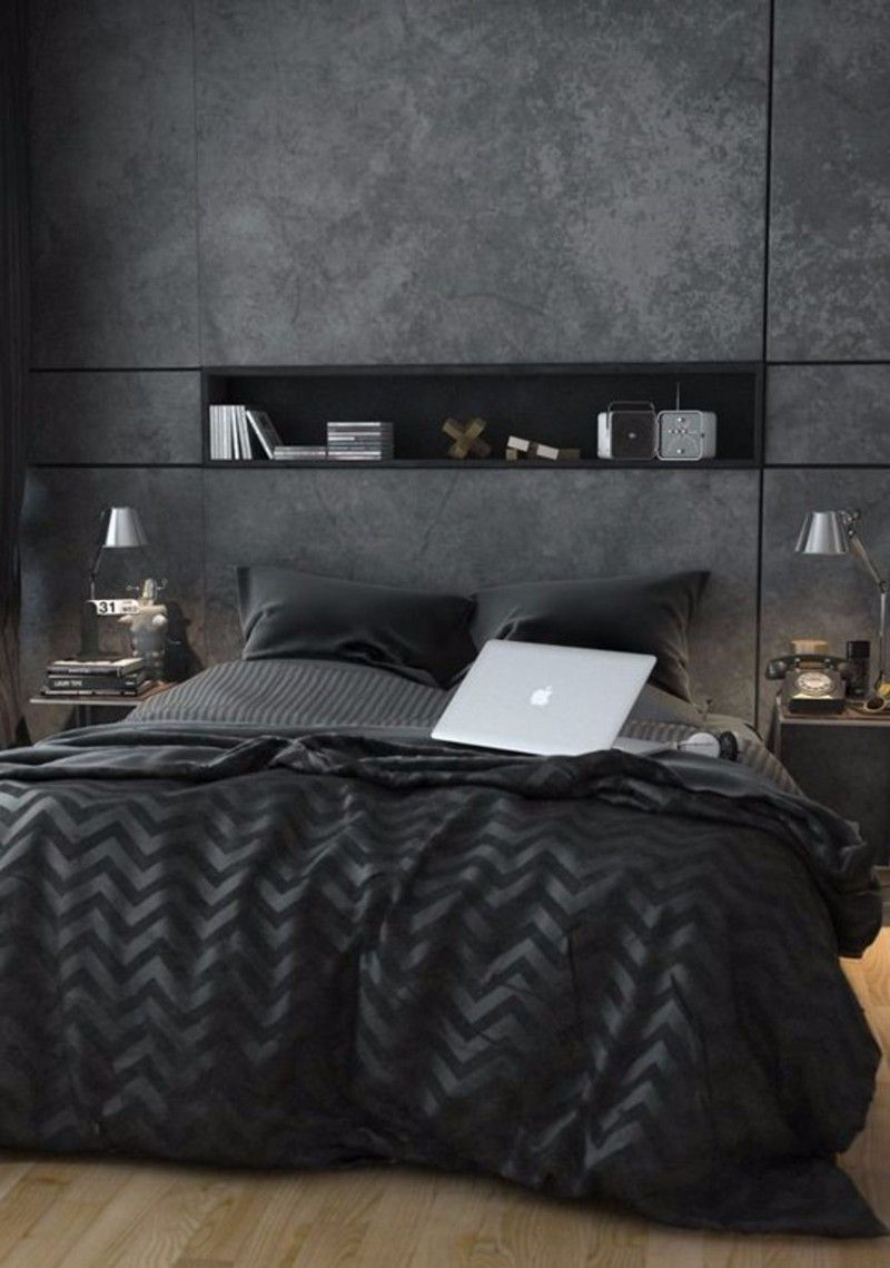Now For Something More Contemporary With A Dark Bedroom Design Of Someone You D Imagine Worki Männliches Schlafzimmer Schlafzimmer Design Dunkles Schlafzimmer