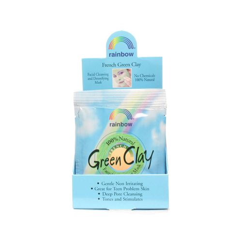 Rainbow Research Green Clay Packet Display Center - Case of 12 - .75 oz - Rainbow French Green Clay has enormous absorbent powers. It literally drinks oils toxic substances and impurities. Its toning action stimulates the skin revitalizing the complexion while tightening pores and helping to keep the skin supple. Rainbow French Green Clay is marvelous for helping to clear problem skin. Make your own 100% natural facial mask using kitchen ingredients. Used at the finest spas and resorts…