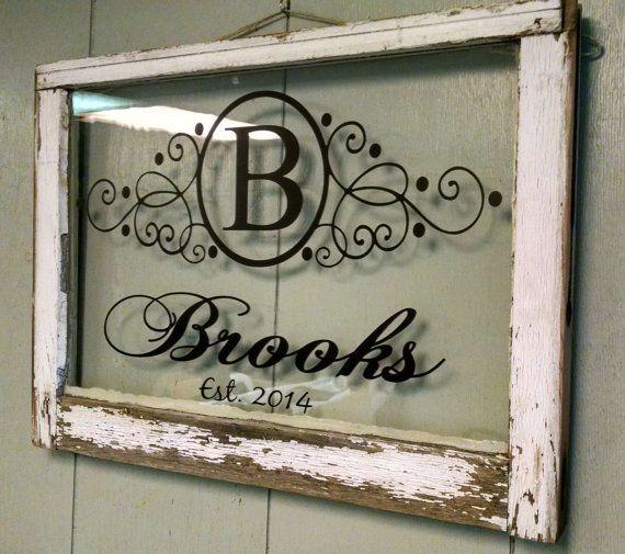 Vintage Single Pane Window Personalized Last Name Family