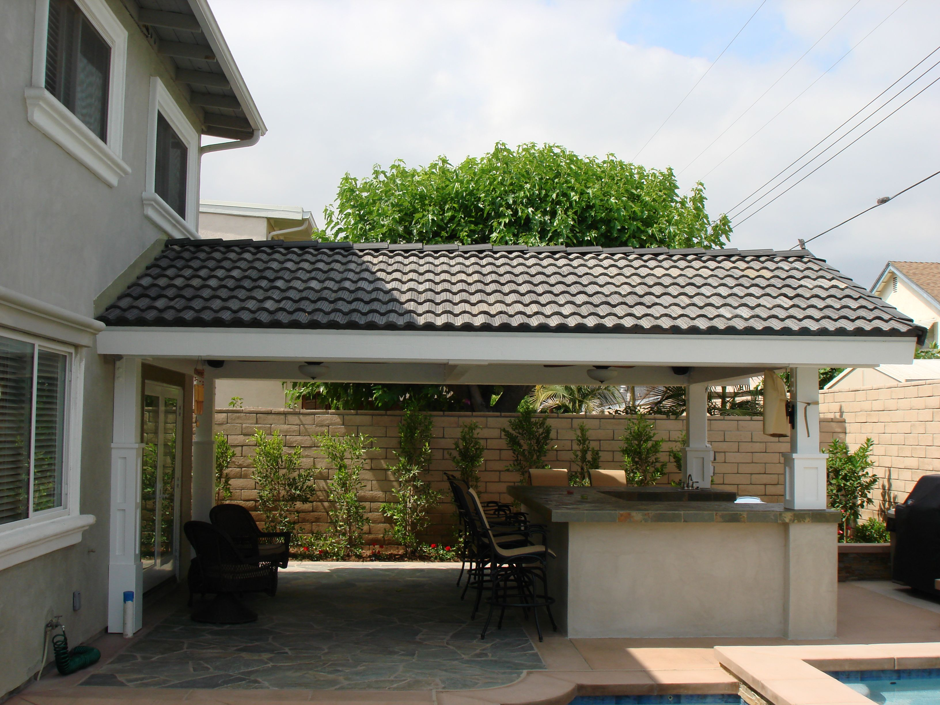 a frame or gabel roof patio cover