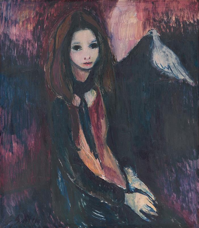 Web umenia | Gabriela Schillerová - Dievčatko s holubičkou