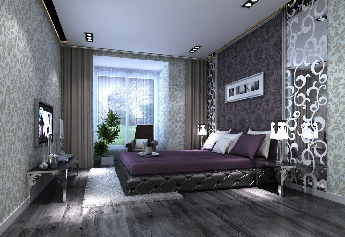 Purple Bedroom Design, Purple Bedrooms, Black Bedrooms, Gray Bedroom,  Master Bedrooms, Bedroom Decor, Bedroom Ideas, Bedroom Designs, Bedroom  Paintings