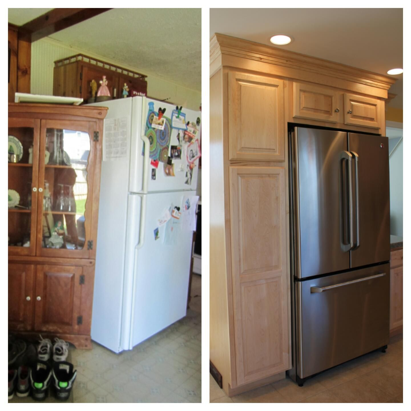 By Adding The Cabinets Around The Refrigerator Added More Storage Space And Made Cleaner Lines Interior Design Kitchen Small Interior Design Kitchen Kitchen