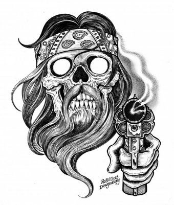 bearded outlaw tattoos pinterest man face drawing artist and chicano. Black Bedroom Furniture Sets. Home Design Ideas