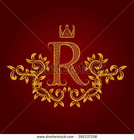 Patterned Golden Letter R Monogram In Vintage Style Heraldic Coat Of Arms Baroque Logo Template Letter R Lettering Monogram