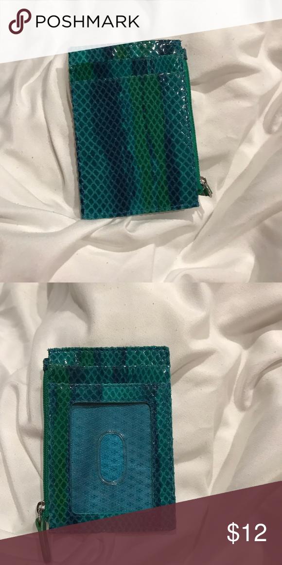 6f0a07ded74f Snakeprint card holder Leather card holder in teal/blue/ green snake print.  Has